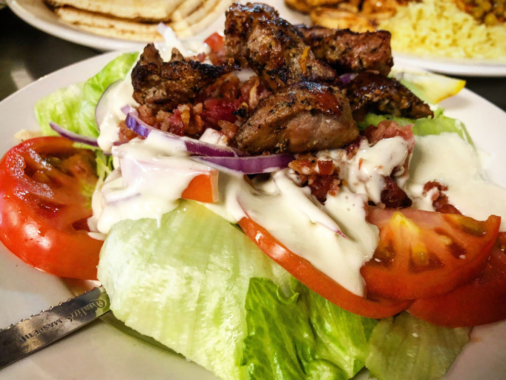 Wedge Salad with Veal Souvlaki